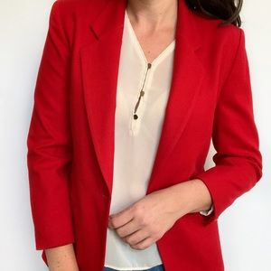 Pendleton Red Blazer Virgin Wool 2 Button Petite